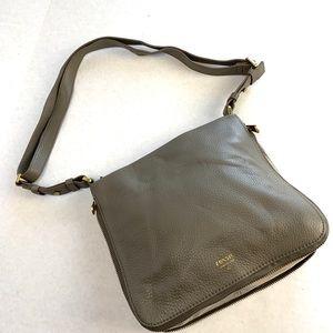 Fossil Pebbled Leather Grey/beige shoulder bag